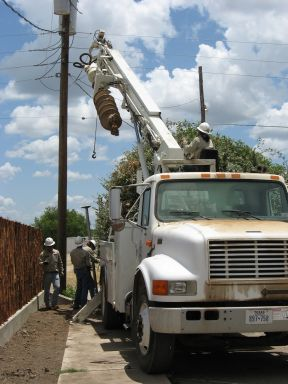 Crane to help install fence